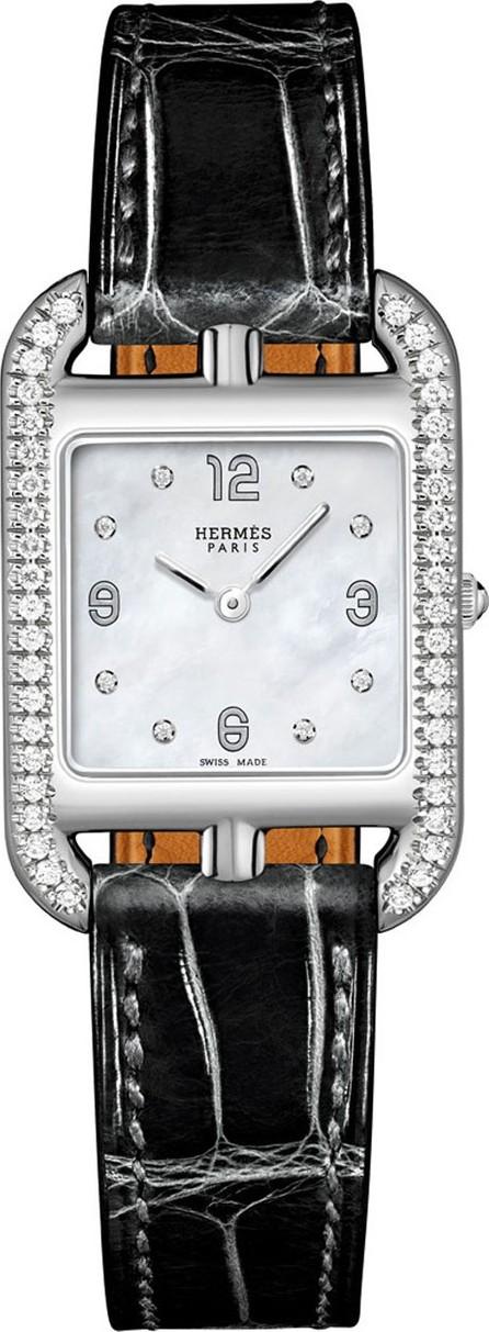 HERMÈS Cape Cod Diamond Watch, Stainless Steel & Alligator Strap