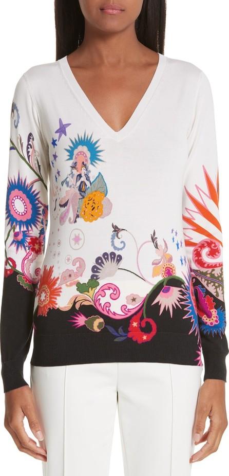Etro Maiden Paisley Stretch Silk Sweater