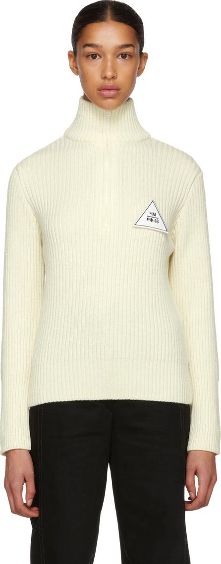 Gosha Rubchinskiy White Zip Collar Knit Sweater