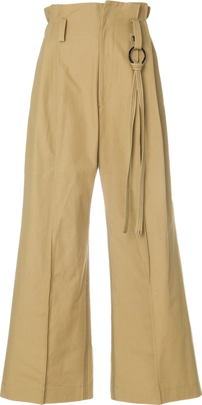 Ujoh - Paper bag waist wide leg trousers