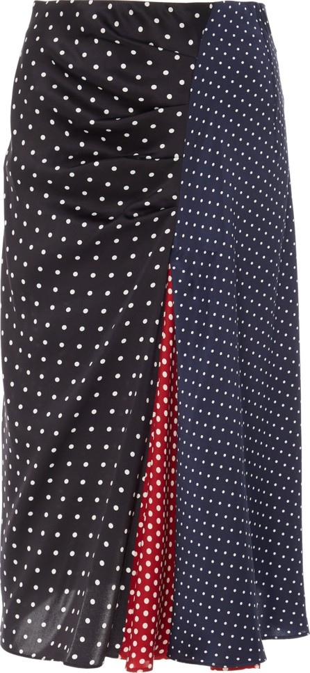 Sportmax Sabrina Polka-Dot Silk-Satin Skirt
