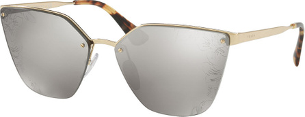 Prada Squared Cat-Eye Sunglasses w/ Floral Lenses