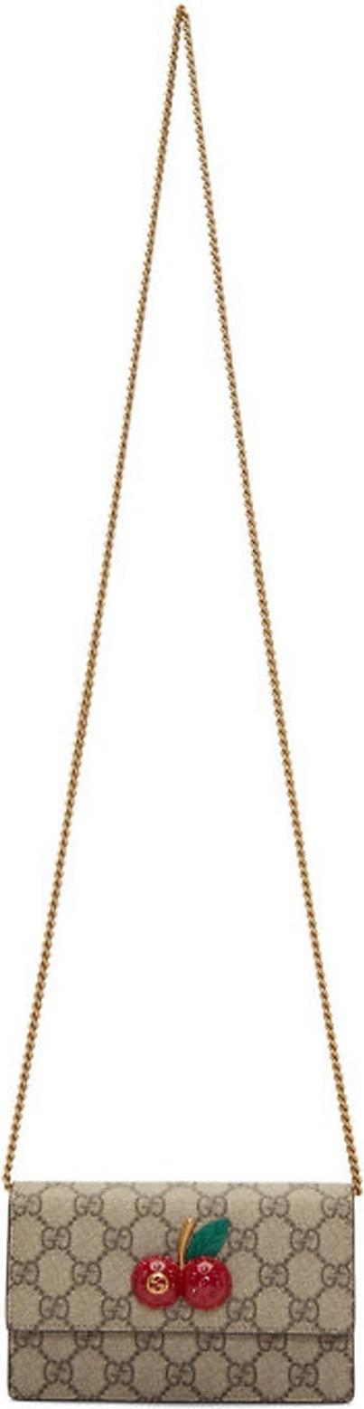 Gucci Beige GG Sparkling Cherries Chain Wallet Bag