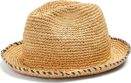 Federica Moretti Gil contrasting brim-stitch straw hat
