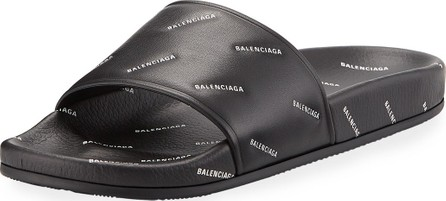 Balenciaga Men's Logo-Print Pool Slide Sandals
