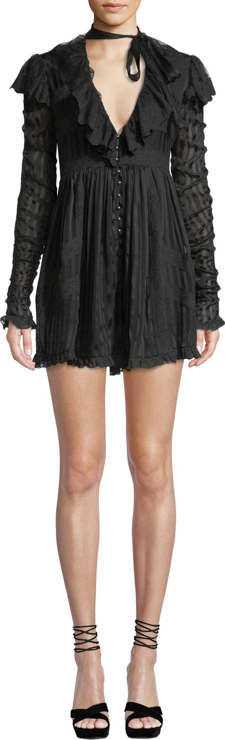 Zimmermann Tempest Flutter Long-Sleeve Lace Romper