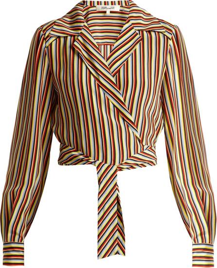 DIANE von FURSTENBERG Paxton striped silk cropped blouse