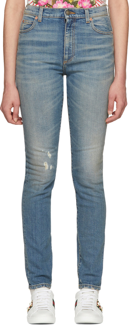 Gucci Blue Embroidered Cat Jeans