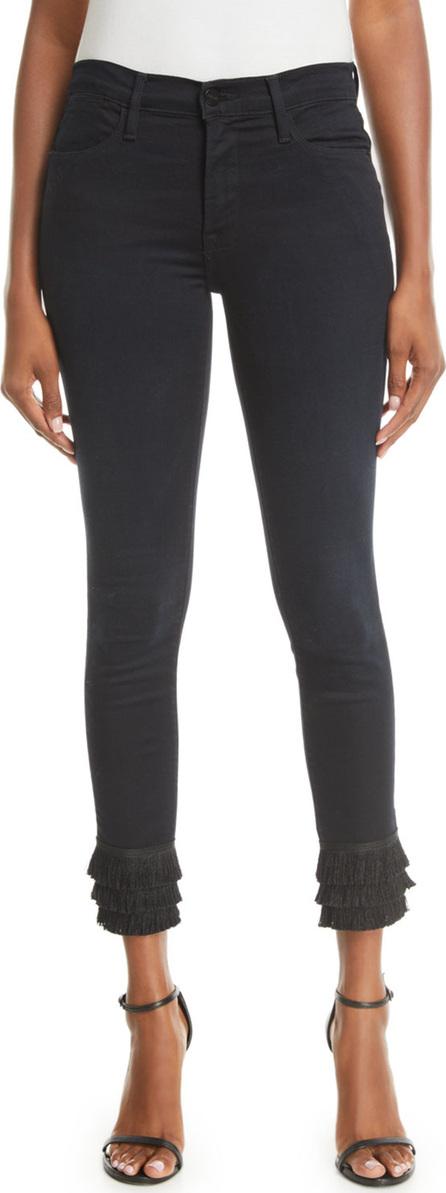 FRAME DENIM Le High Skinny  Jeans with Tiered Fringe Hem