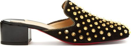 Christian Louboutin Mulaconka 35mm gold-spike suede mules