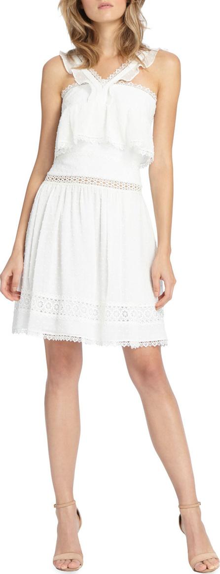 ML Monique Lhuillier Spotty Chiffon Mini Halter Dress