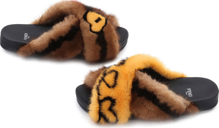 Fendi Open Your Heart Mink Sandals