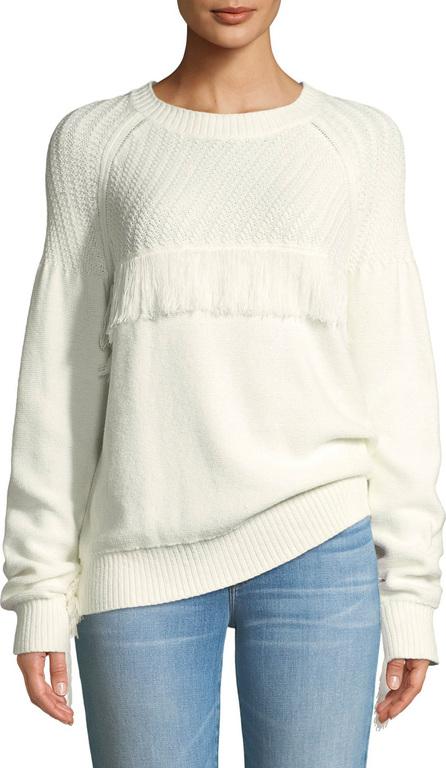 FRAME DENIM Fringe Cotton Crewneck Sweater