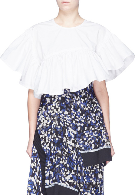 3.1 Phillip Lim Layered back ruffle cropped flamenco top