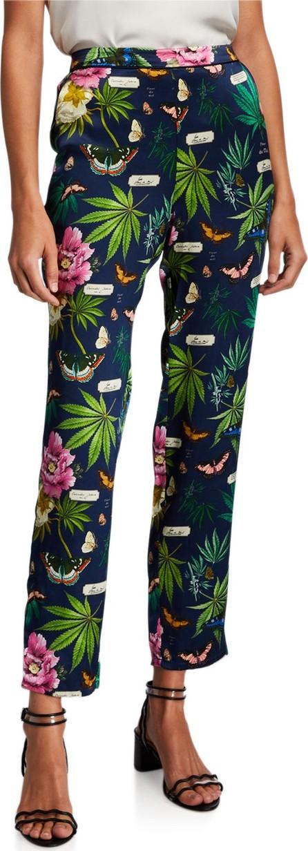 Fleur Du Mal Back-Seam Floral Silk Pants