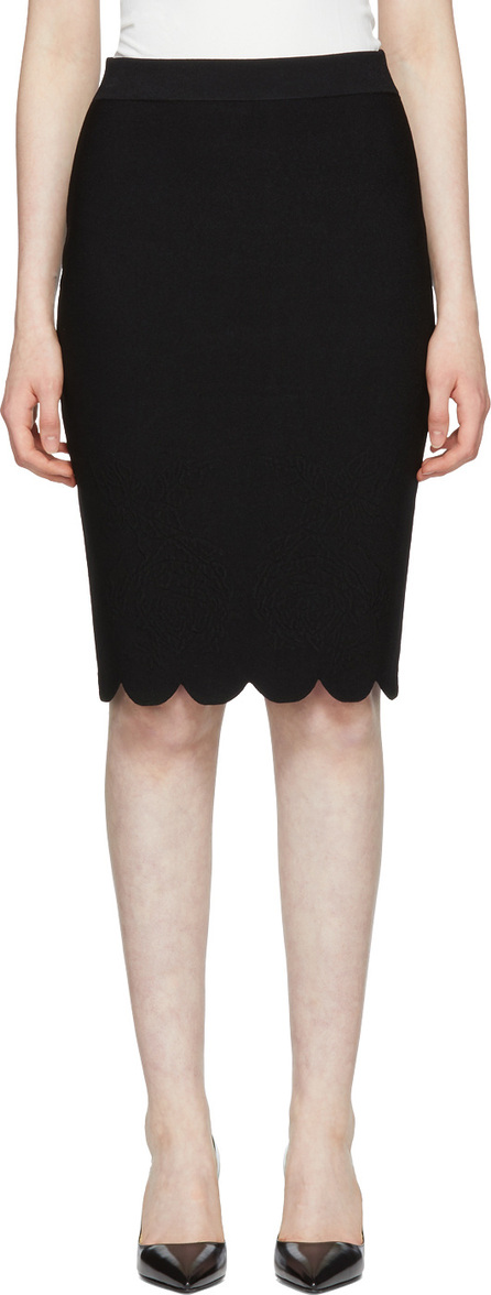 Alexander McQueen Black Scalloped Pencil Skirt