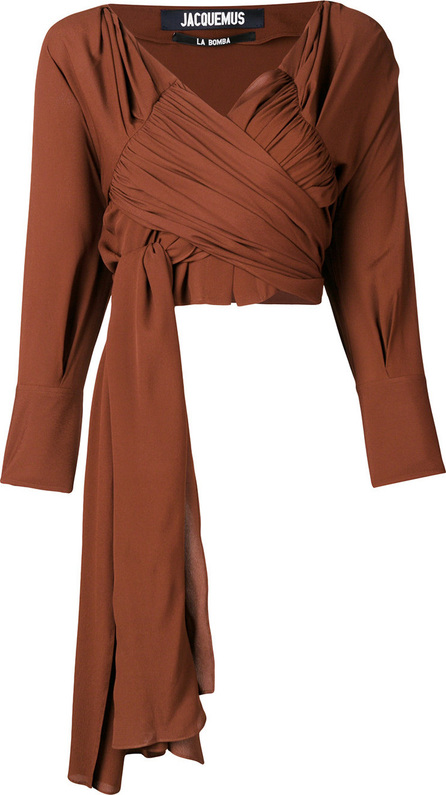 Jacquemus Cropped ruched wrap top
