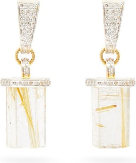 Jade Jagger Diamond, rutilated quartz & gold pencil earrings