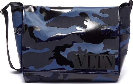 Valentino Logo patch camouflage print messenger bag