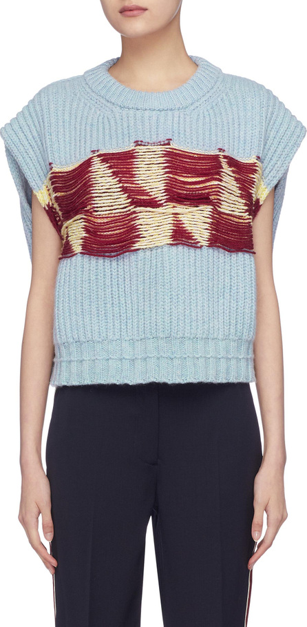 Calvin Klein 205W39NYC Patchwork cap sleeve lambswool sweater