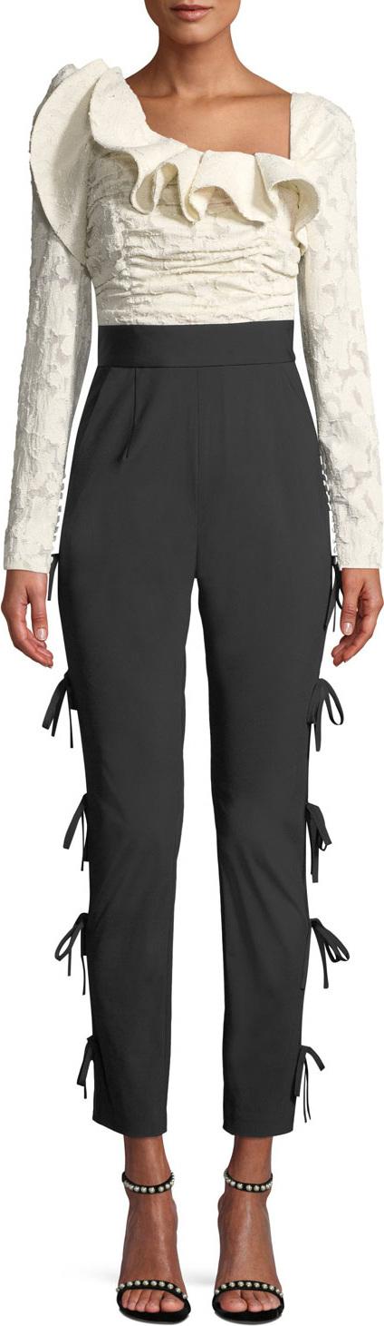 Self Portrait Ruffle Side-Tie Shirred Jumpsuit