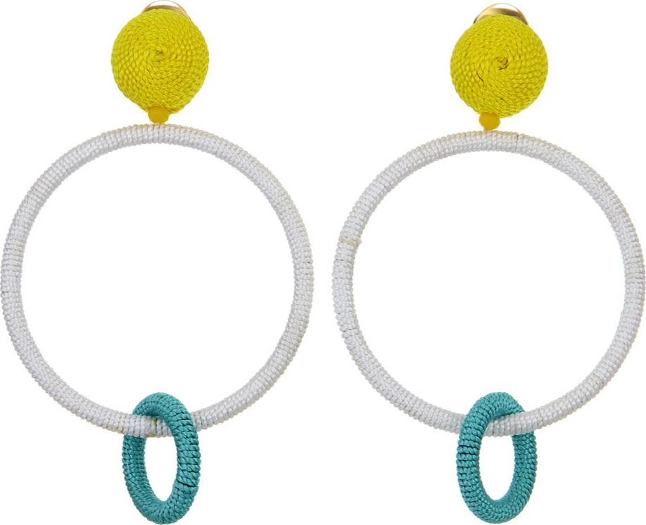 Oscar De La Renta - Silk Double Hoop Clip-On Earrings