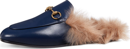 Gucci Princetown Fur-Lined Leather Mule Slipper