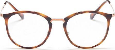Ray Ban 'RB7140' metal temple tortoiseshell acetate round optical glasses