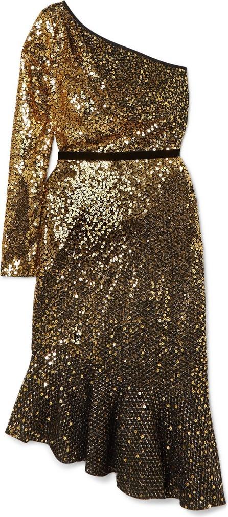 Marchesa Notte One-sleeve velvet-trimmed sequined cady dress
