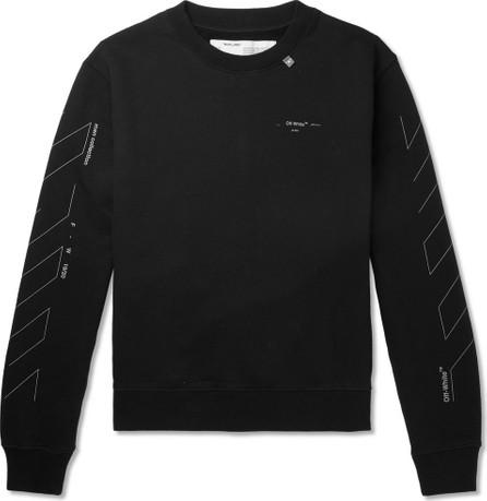 Off White Printed Loopback Cotton-Jersey Sweatshirt