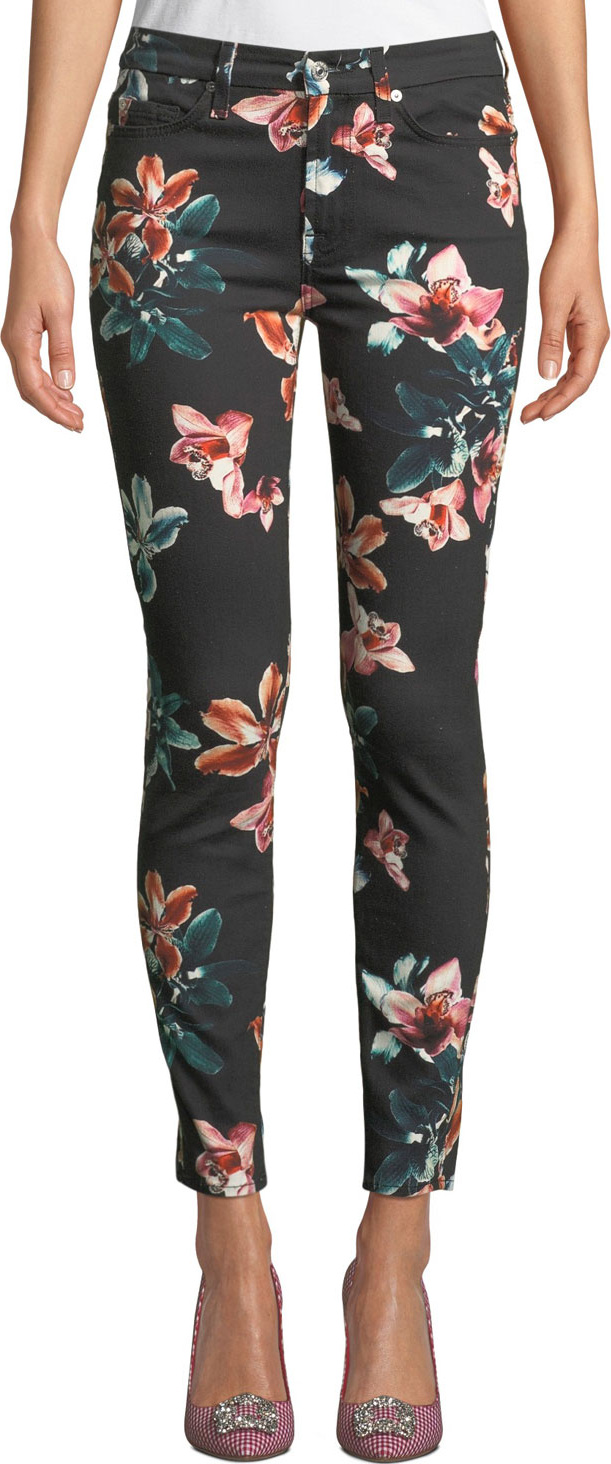7 For All Mankind - Tropical Floral-Print Ankle Skinny Jeans