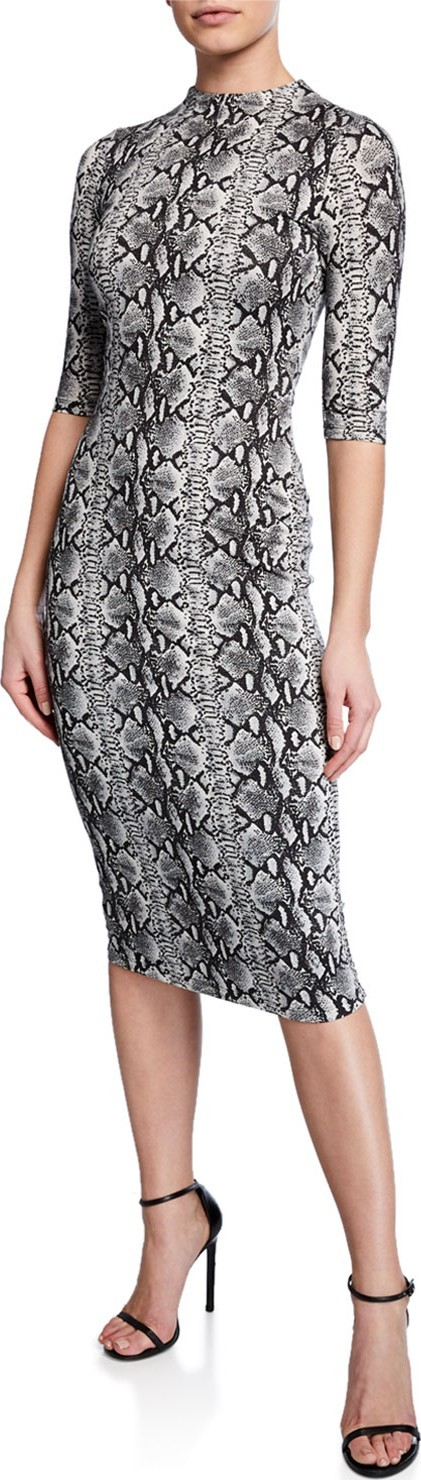 Alice + Olivia Delora Snake-Print Mock-Neck Elbow-Sleeve Fitted Dress