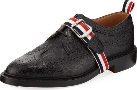 Thom Browne Classic Long Wing Brogue Shoe with Striped Trim