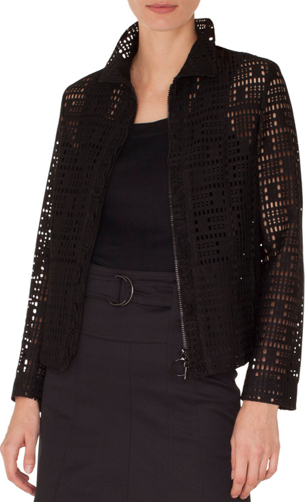 Akris Punto Zip-Front Collared Lace Jacket w/ Ruffled Detailing