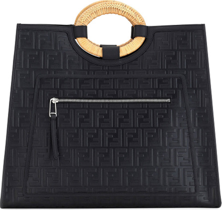 Fendi Runaway Large FF Embossed Century Calf Shopper Tote Bag
