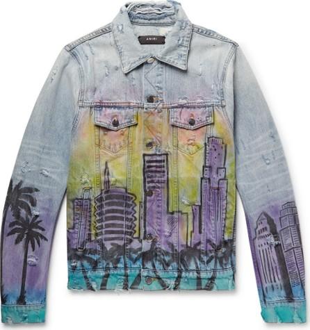 Amiri Slim-Fit Printed Distressed Denim Jacket