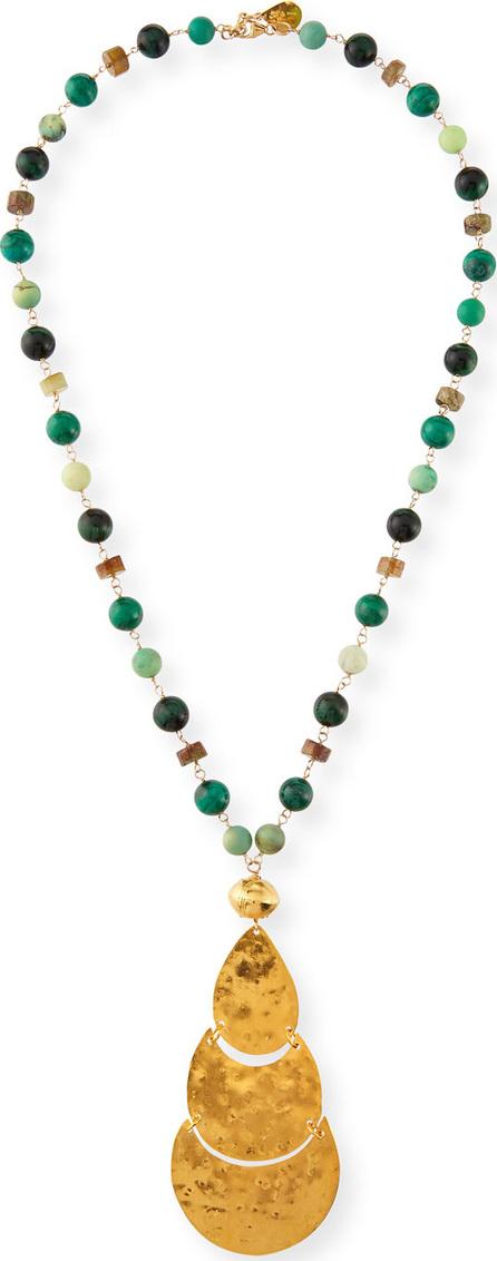 Devon Leigh Long Pendant & Stone Beaded Necklace