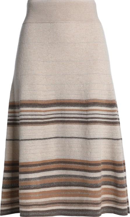Agnona Metallic striped cashmere-blend skirt