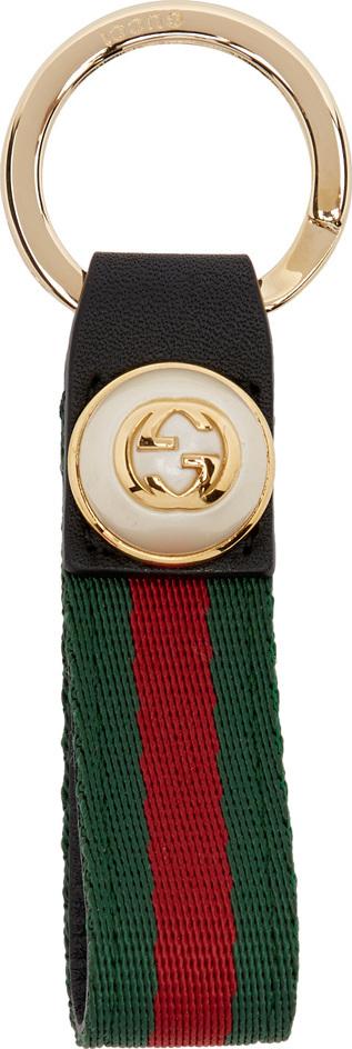 Gucci Green & Red GG Web Keychain