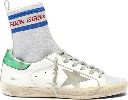 Golden Goose Deluxe Brand 'Superstar' metallic sock knit panel leather sneakers
