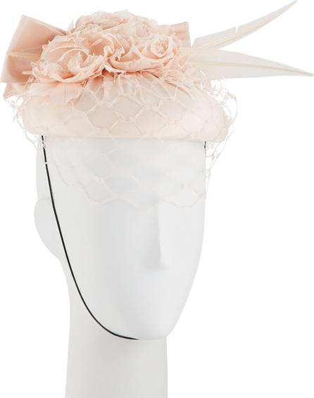 Rachel Trevor Morgan Flower & Bow Silk Pillbox Hat w/ Honeycomb Veiling