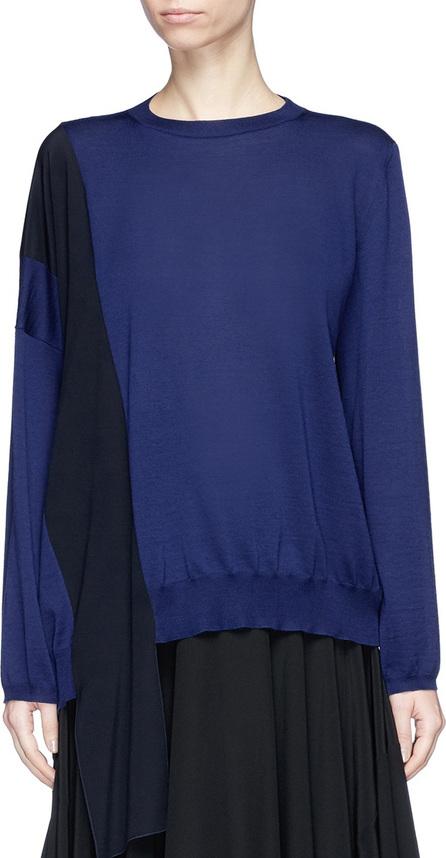 Stella McCartney Colourblock crepe sash drape virgin wool sweater