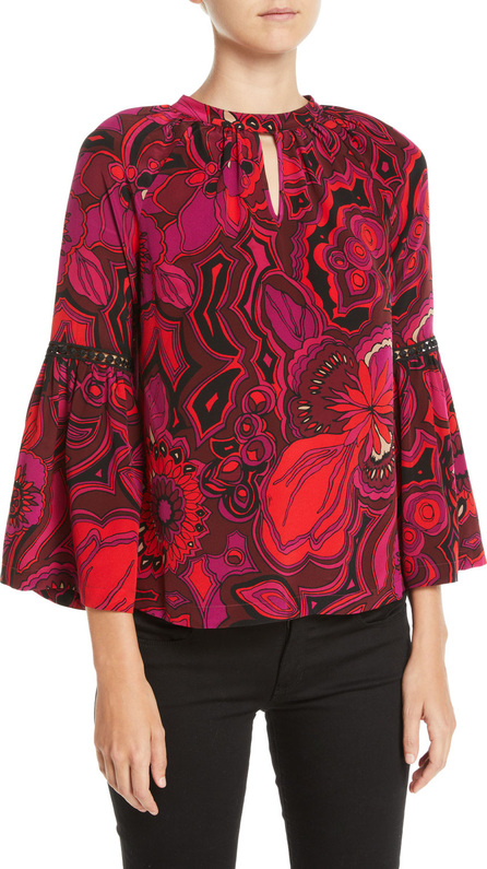 Trina Turk Brinley Bell-Sleeve Floral Silk Top
