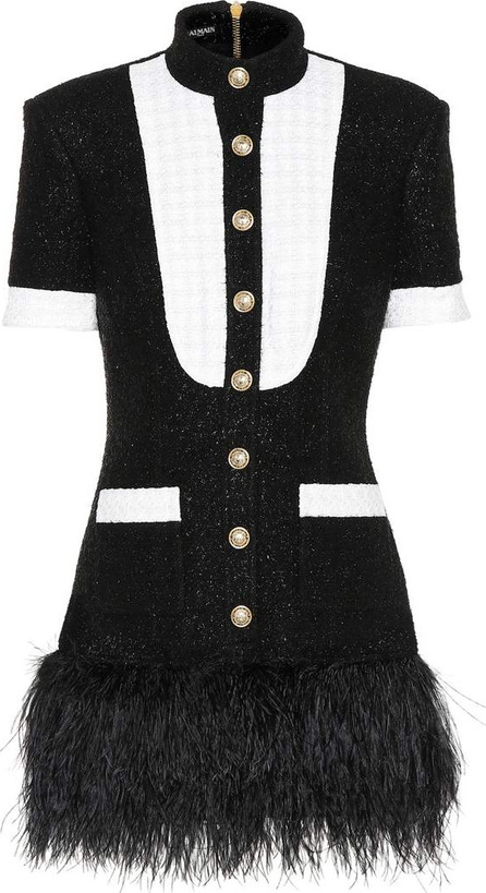 Balmain Feather-trimmed tweed minidress