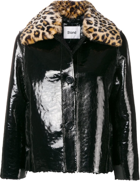 Stand Leopard collar faux-leather jacket