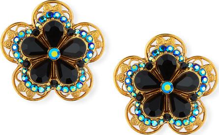 Jose & Maria Barrera Crystal Flower Button Clip-On Earrings