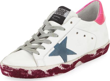 Golden Goose Deluxe Brand Superstar Paint-Leather Low-Top Platform Sneaker with Suede Star