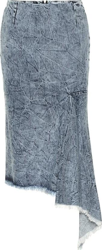 Balenciaga Asymmetric denim midi skirt