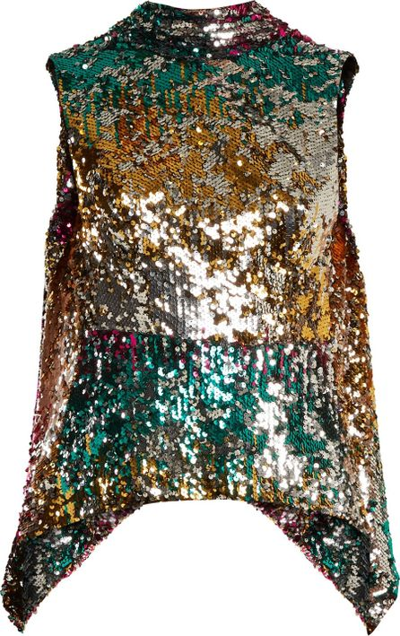 Halpern Sequin-embellished high-neck sleeveless top