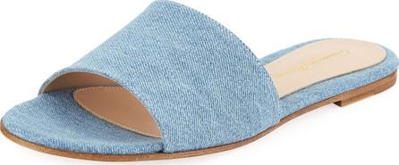 Gianvito Rossi Denim Flat Slide Sandals